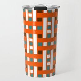 Cross Stitch Quilt Latter Design Chutes Weave Travel Mug