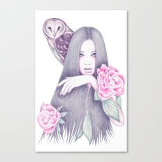Moonlight And Roses Canvas Print
