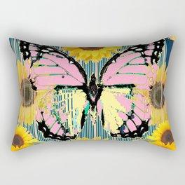 ABSTRACT PINK BUTTERFLY TEAL GARDEN SUNFLOWER Rectangular Pillow