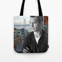 kerouac Tote Bags featuring Jack Kerouac San Francisco  by All Surfaces Design