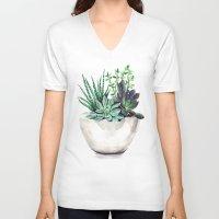 succulents V-neck T-shirts featuring Succulents by Bridget Davidson