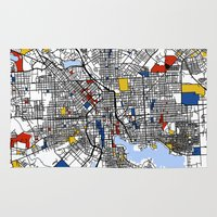 baltimore Area & Throw Rugs featuring Baltimore Mondrian by Mondrian Maps