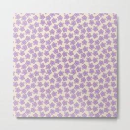Lavender Flowers on Cream Metal Print
