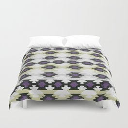 Ethnic shapes in purple and gray Duvet Cover