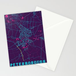 Peterborough Neon City Map, Peterborough Minimalist City Map Art Print Stationery Cards