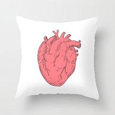 Human Heart Anatomy Drawing Throw Pillow