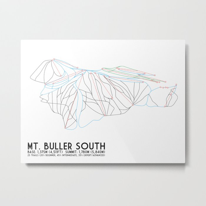 Mt. Buller Southern Exposure, Victoria, Australia - Minimalist Trail Art Metal Print