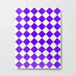 Large Diamonds - White and Indigo Violet Metal Print