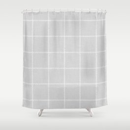 French Grey Linen Check Shower Curtain