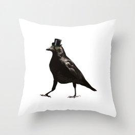 Raven Wearing Top Hat Throw Pillow