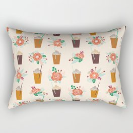 Coffee floral bouquet coffee lovers java bean cute pattern print for kitchen Rectangular Pillow