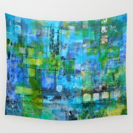 Abstract Blue Blue Wall Tapestry