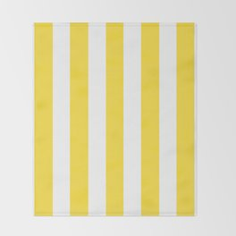 Banana yellow - solid color - white vertical lines pattern Throw Blanket