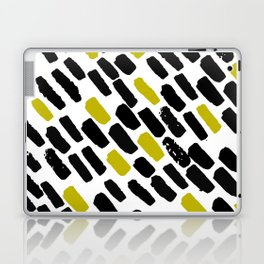 Oblique dots black and white olive Laptop & iPad Skin