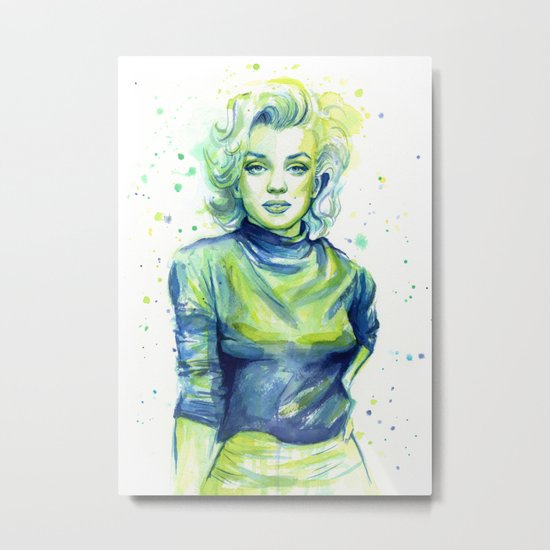 Marilyn Portrait Watercolor Painting Actress Old Hollywood Metal Print