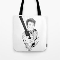 clint eastwood Tote Bags featuring Magnum Force (Clint Eastwood by  Steve Wade ( Swade)