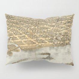 Vintage Pictorial Map of La Crosse WI (1867) Pillow Sham