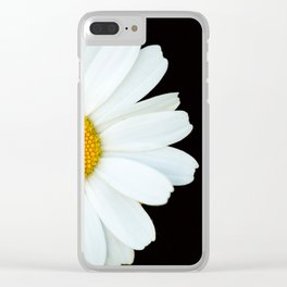 Hello Daisy - White Flower Black Background #decor #society6 #buyart Clear iPhone Case