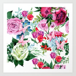 Floral Roses Tulips and Butterflies Art Print