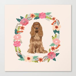 cocker spaniel dog floral wreath dog gifts pet portraits Canvas Print