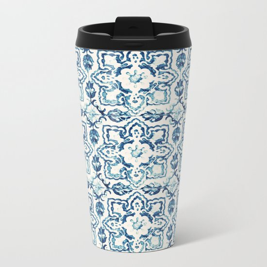 tile pattern IV - Azulejos, Portuguese tiles Metal Travel Mug