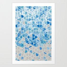 Cubes & Diamonds in Blue & Grey  Art Print