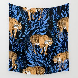 Tiger and leaf pattern Wall Tapestry