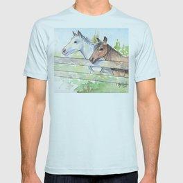 Horses Watercolor Sketch Barn Animals Horse T-shirt