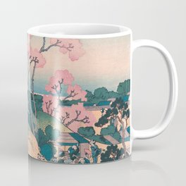 Spring Picnic under Cherry Tree Flowers, with Mount Fuji background Coffee Mug