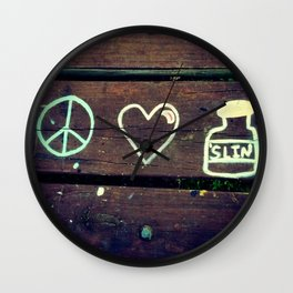Peace Love and Insulin  Wall Clock
