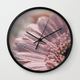 Romantic pink daisy flower with sparkling glitter droplets Wall Clock