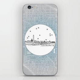 Washington D.C., City Skyline Illustration Drawing iPhone Skin