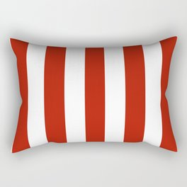 Tomato sauce red - solid color - white vertical lines pattern Rectangular Pillow