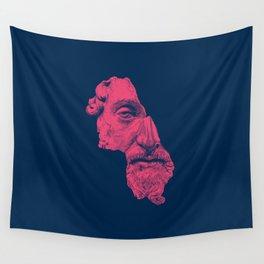 MARCUS AURELIUS ANTONINUS AUGUSTUS / prussian blue / vivid red Wall Tapestry