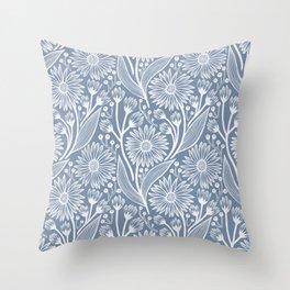 Denim Coneflowers Throw Pillow