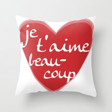 Je T'aime Beaucoup Red Heart Throw Pillow