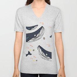 Ocean Blue Whale Grey Unisex V-Neck