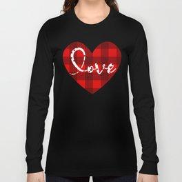 Girls-Valentines-Day-Shirts-Hearts-Love-Leopard-Plaid-T-Shirt Long Sleeve T-shirt