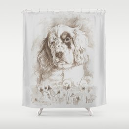 English Setter puppy Monochrome sgraffito Shower Curtain