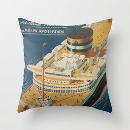 Vintage poster - Cruise ship Throw Pillow