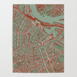 Amsterdam city map pop Poster