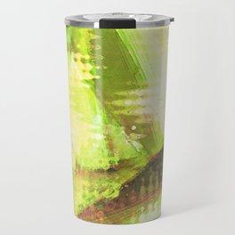 Fragmented Green Abstract Artwork Travel Mug