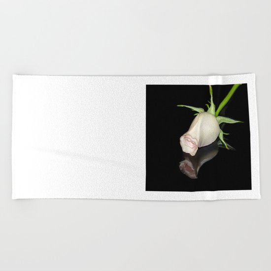 The Black Square and a White Rose Beach Towel