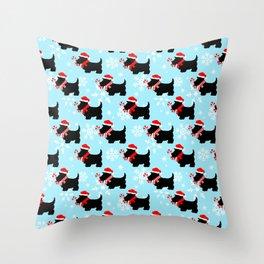 Christmas Scottie Dogs Pattern Throw Pillow