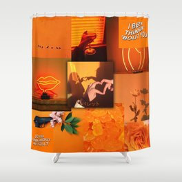 Orange love aesthetic collage Shower Curtain
