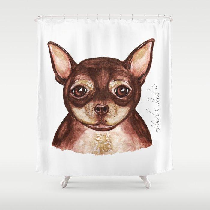 Kiki The Chihuahua Shower Curtain By Alliescalici