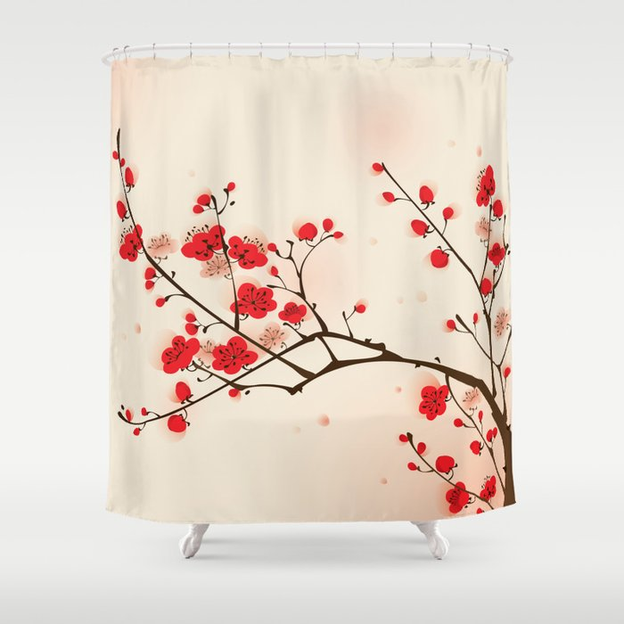 Oriental Plum Blossom In Spring 009 Shower Curtain