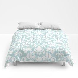 Flourish Damask Big Ptn White on Duck Egg Blue Comforters