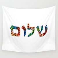 jewish Wall Tapestries featuring Shalom 10 - Jewish Hebrew Peace Letters by Sharon Cummings