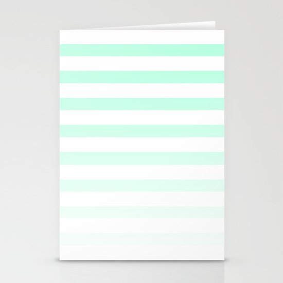 MINT STRIPE FADE Stationery Cards